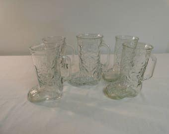 Set Of 5 Western Themed Cowboy Boot Mug Glasses