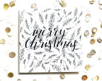 Merry Christmas card, typography, calligraphy