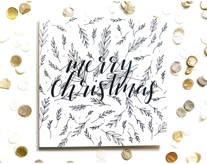 Featured listing image: Merry Christmas card, typography, calligraphy