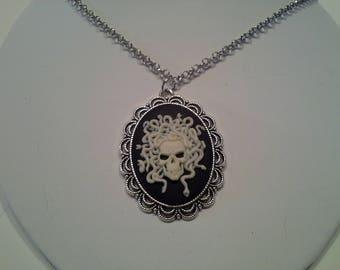 Medusa skull cameo necklace
