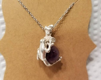 Handmade Amethyst frog necklace