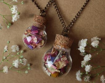 Flower Filled Spherical Jar Pendant, Dried Flower Jar Necklace, Zen Boho Necklace