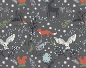 Winter Animals Stag Owl Squirrel Robin Fox in the Forest Woodland on Grey Christmas Cotton Fabric by Lewis and Irene A Countryside Winter