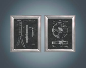 Film Strip Patent Art Film Reel Wall Art Home Theater Artwork Home Theater Decor Movie Lover Gift for Classic Cinema Lover Set of 2 PP 9237