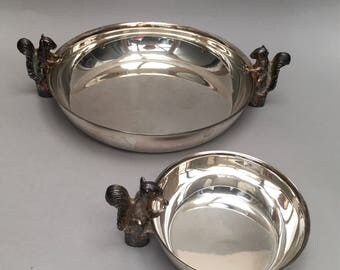 Pair of Viners Sheffield Silver Plated Plate Squirrel Nut Bowl Dish Bowls Dishes Holiday Serving