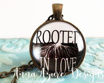 Christian Jewelry Christian Necklace Scripture jewelry Rooted in Love Ephesians 3:17 Christian Bible Pendant Necklace Scripture Keychain