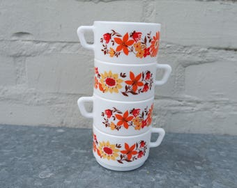 Vintage 70' lot of 4 Arcopal  expresso cups orange, red, yellow flowers