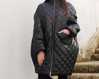 SALE Black Coat/ Winter Coat/ Warm Coat/ Black Jacket/ Oversized Coat/Quilted Coat/Womens Coat/ Extravagant Jacket/ by FRKT C0019