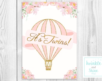 Printable Hot Air Balloon Twins, Favour Sign, Baby Shower Sign, Printable.  INSTANT DOWNLOAD