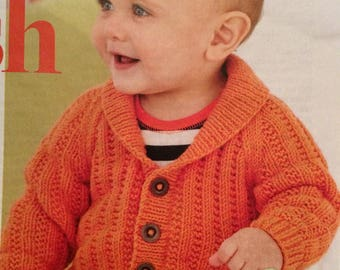 Toddlers Shawl Collared Cardigan Knitting Pattern  age 6 months - 7 years