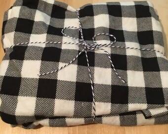 Black Plaid Flannel Crib Sheet