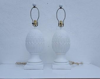 Vintage Hollywood Regency Artichoke  Plaster  Table Lamps A Pair .