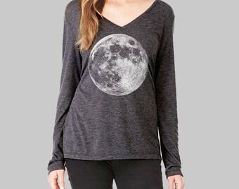Moon, Long Sleeve Tshirt, Moon Shirt, v neck tshirt, womens, long sleeve shirt, graphic tees for women, v neck shirt