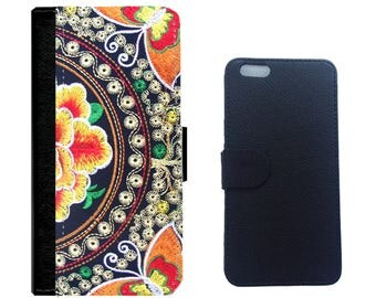 Orange Flower Bird on Leather Wallet Case Cover for iPhone 7/7+, 6/6+, 5/5s, 4/4s cover and Galaxy Note 5,4,3,2,S8,S7,S6,S5,S4 Wallet Cover