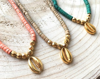 Necklace / long gold plated turquoise coco wood beads and gold plated shell