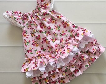 Girls Dress, Ruffle Dress, first birthday dress, girls party dress, size 1, flower dress