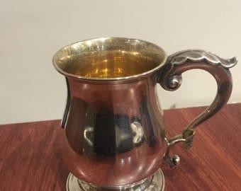 Sterling Silver 925 Vintage Christening Mug. England 1928. Silver gilded inside.