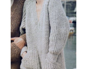 PDF Immediate Digital Download  Row by Row Knitting Pattern Ladies Oversized Chunky Long Sleeve V Neck Sweater with Pockets  Bust 34-42""