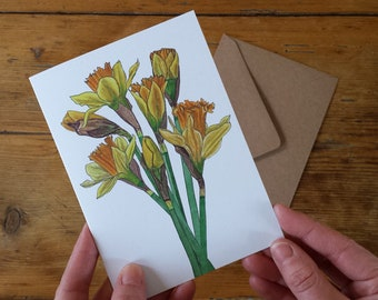 Daffodils card by Alice Draws The Line featuring botanical illustrations of a daffodil bouquet - blank inside. Easter card, Spring flowers,