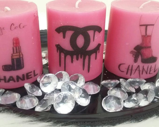 Designer Inspired Pink Candle Set, vanity candles, personalized candle, logo candle, birthday gifts, anniversary gifts, fashion candle