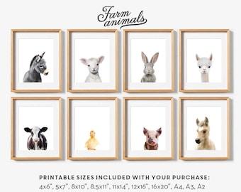 Farm animal prints, Nursery wall art, PRINTABLE art set, Farm animals, Rabbit print, Art print, Nursery animal wall art, Farm animal nursery