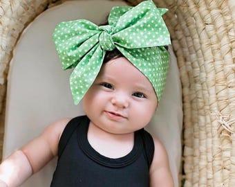 Green Polka Headwraps, Newborn Headwrap, Fabric Headwraps, Green Headwrap, Toddler Headwrap,  baby headwrap, baby headband, polka headwrap