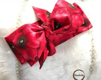 RED POPPY FIELD head wrap, fabric head wrap, baby headwrap, toddler headwrap, headwraps, newborn headwrap, baby headband, red headwrap