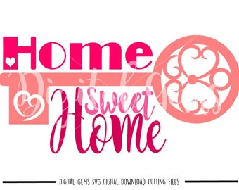 Home Sweet Home svg / dxf / eps / png files. Digital download. Compatible with Cricut and Silhouette machines. Small commercial use ok.
