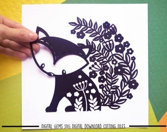 Fox paper cut svg / dxf / eps / files and pdf / png printable templates for hand cutting. Digital download. Commercial use ok.