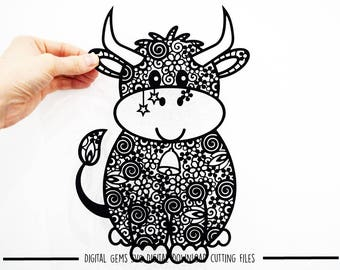 Zentangle Cow paper cut svg / dxf / eps / files and pdf / png printable templates for hand cutting. Download. Small commercial use ok