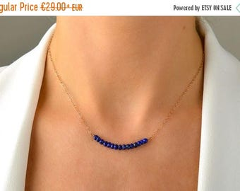 Lapis Lazuli Necklace, Beaded Bar necklace, Blue Gemstone Row Necklace Minimalist Jewelry: 14K Rose Gold Filled Sterling Silver
