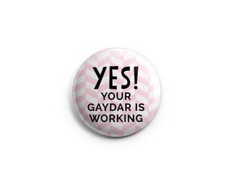 "Stocking Stuffers,  Gaydar - Gay & Lesbian Pride button, Rainbow flag, 1.25"" pinback button, pin, badge, LGBT pride, queer pride badge"