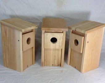 3 Bluebird Bird House Cedar Wood Nest Box Hand Made Predator Guard New Easy Open