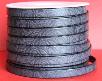 """MADE in EUROPE 24"""" flat leather cord, embossed 10mm gray leather cord, engraved leather cord (503/10/40)"""