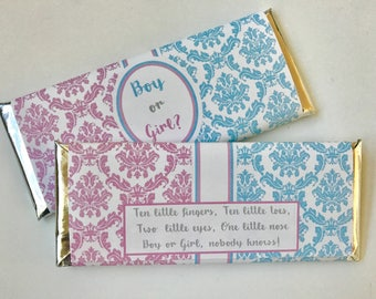 Gender Reveal party supplies, unisex baby shower favors, baby shower favours, personalized candy bar wrapper, baby boy, baby girl, 24 ct.