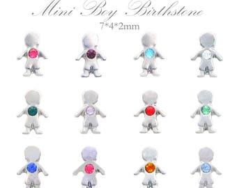 Mini Boy Birthstone Floating Charms