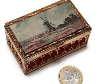 vintage french tiny satin jewelry box, trinket box, retro box, dollhouse box