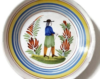 Antique Quimper ceramic plate, Brittany decor, french home decor, Petit Breton
