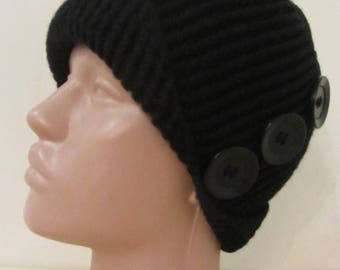 Children's black for the little lady crochet cap girl with buttons with fleece lined