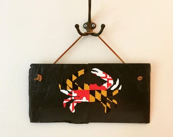 Hand Painted Rustic Maryland Flag Crab Slate Repurposed Upcycled Sign Home Decor