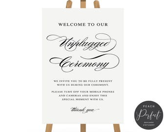 Black and White Calligraphy Printable Wedding Sign, Welcome to Our Unplugged Ceremony, 4 sizes, Instant Download, Peach Perfect Australia