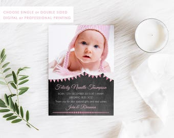 Digital Birth Announcement Card, Printable Baby Thank You, Baby Girl Card, Photo Announcement, Free Colour Changes, Pink Chalkboard