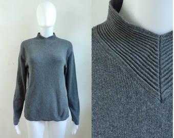 90s knit cotton top mock turtleneck top gray minimalist long sleeve top jeanne pierre designer shirt womens medium