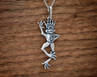 STERLING SILVER Frog Prince Charming My ORIGINAL Pendant - Chain Optional