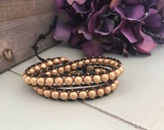 Matte Gold Wrap Bracelet