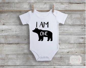 Baby Bear - Bear Bodysuit - Bear Birthday - One Birthday Bodysuit - One Year Old - First Birthday - Birthday Outfit - One Year Old Bodysuit