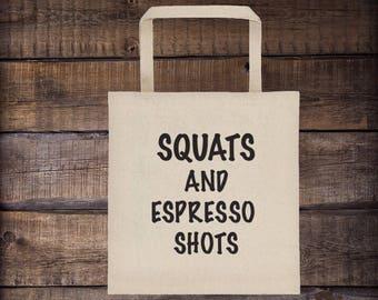 Squats and Espresso Shots Tote bag, workout bag, gym bag, squats, coffee, tote bag, beach bag, tote purse, bags and totes, canvas bag