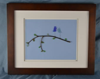 Love blue birds scene seaglass art, 13in x 16in framed color seaglass, coastal decor, 2 blue birds wedding or anniversary gift, Valentines