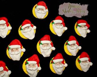 12x Edible Santa Cupcake Toppers