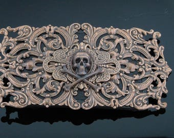 Copper Skull Belt Buckle | Pirate Belt Buckle | Goth Belt Buckle | Steampunk Belt Buckle | Dawn Santucci | Metal di Muse PopSkulpture